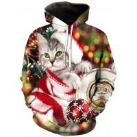 CHRISTMAS KITTY CAT - 3D STREET WEAR HOODIE