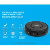 LEVN BLUETOOTH AUDIO AUX RECEIVER WIRELESS FOR CAR/SPEAKERS/HEADPHONES/EARPHONES VIA 3.5MM AUX PORT