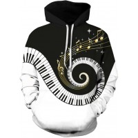 PIANO KEYS BLACK HOLE - 3D STREET WEAR HOODIE
