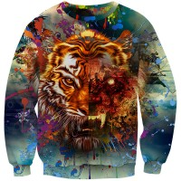 TIGER RAINBOW BURST - LONG SLEEVE 3D STREET WEAR SWEATER