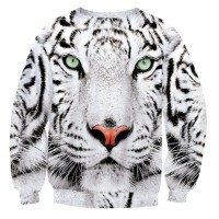 WHITE TIGER - LONG SLEEVE 3D STREET WEAR SWEATER