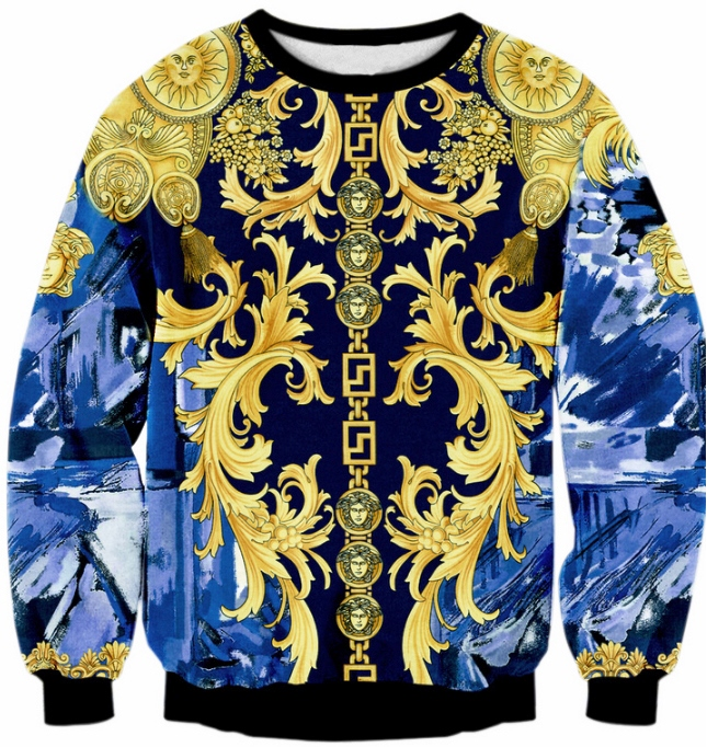 bd5c4cbbd225 MEDUSA CHAIN ON BLUE - LONG SLEEVE 3D STREET WEAR SWEATER - by  www.wesellanything.co